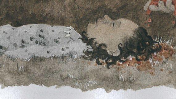 Gravlæggelsen af en lille pige i jægerstenalderen. Tegning Anna Vebæk Gelskov