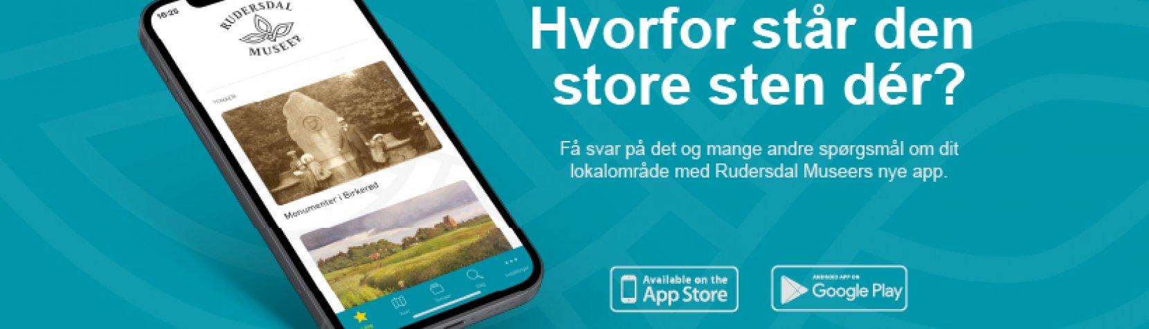 Billede af mobiltelefon med museets app