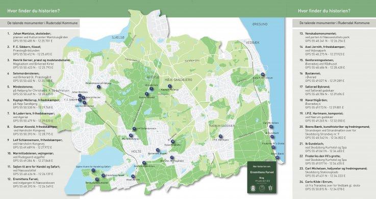 kort over kommunens monumenter