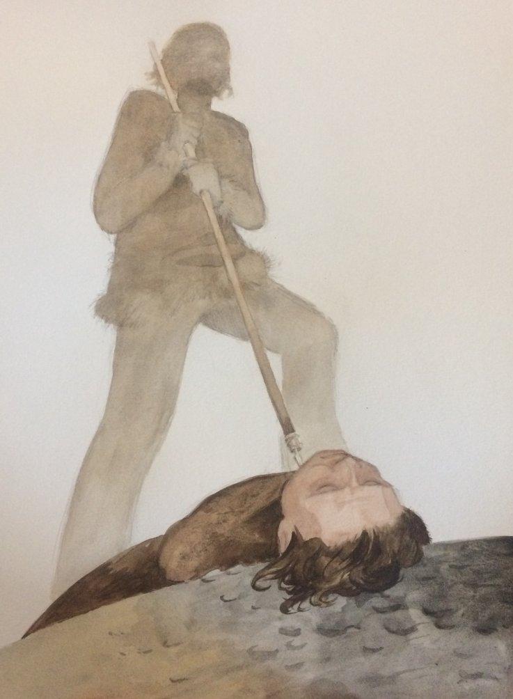 tegning forestilende et menneske med et spyd