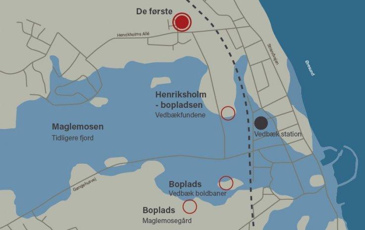Kort over Vedbækfjord