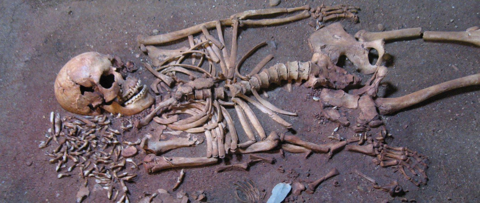 Kvinde med barn gravlagt på en svanevinge