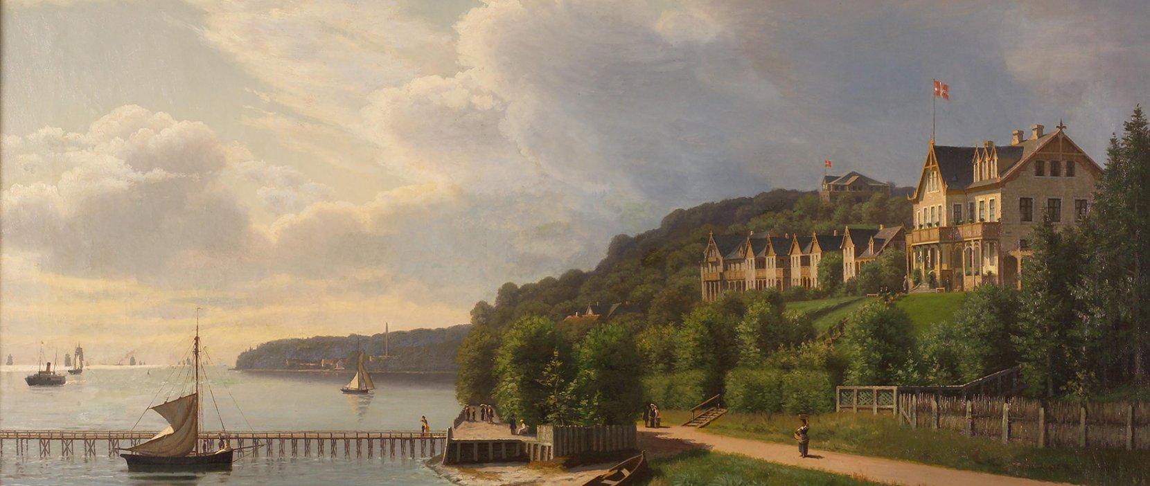 Maleri af Skodsborg Søbad 1888
