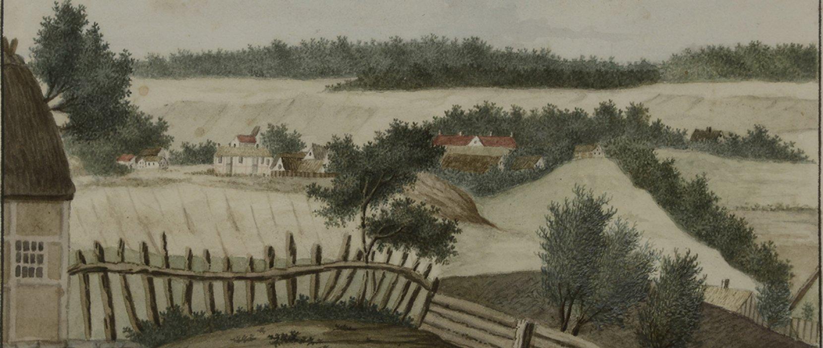 Udsigt fra Søllerød til Øverød akvarel o 1800