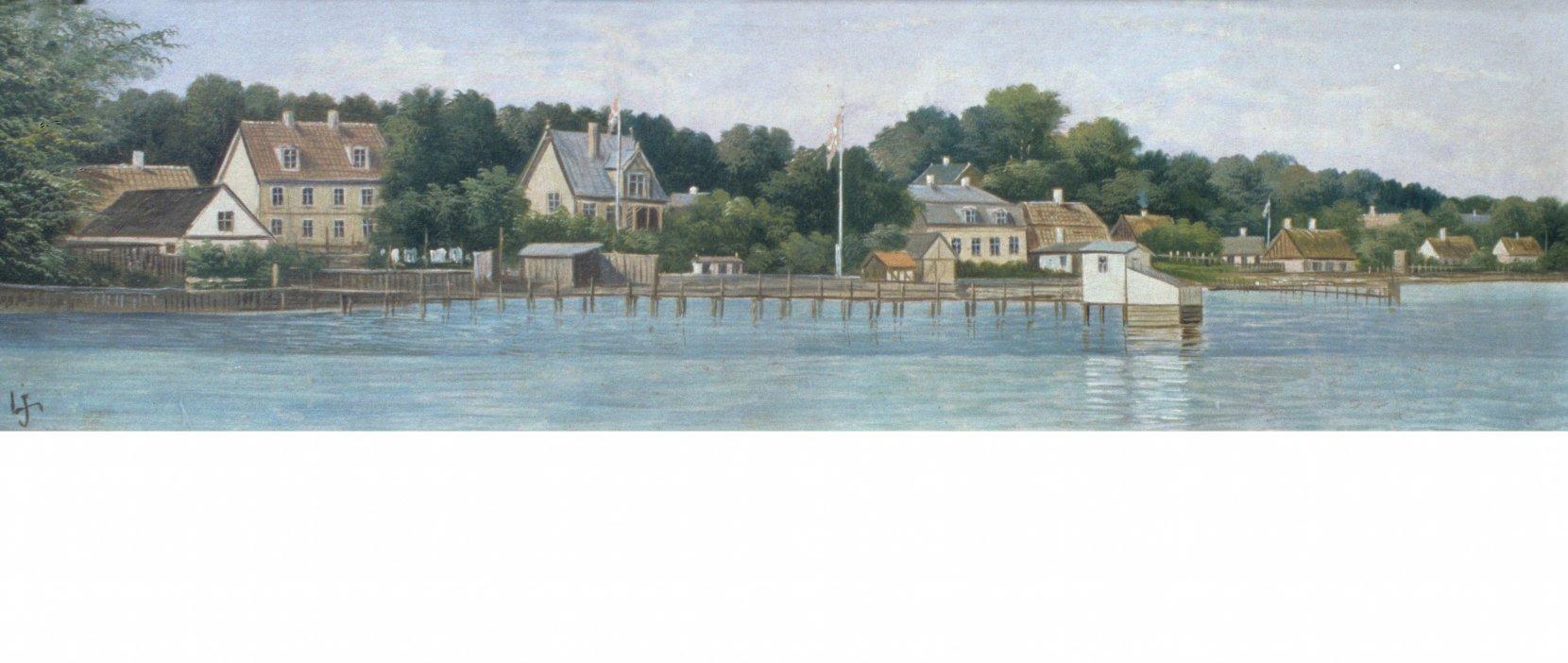 Skodsborg Kyst med badehuse malet ca 1890